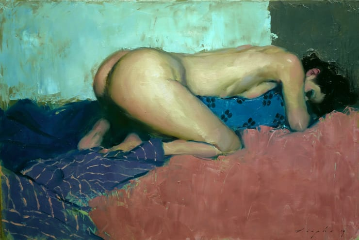 Malcolm Liepke Clutching Her Pillow, 2018 Oil on canvas 50.8 x 76.2 cm 20 x 30 in