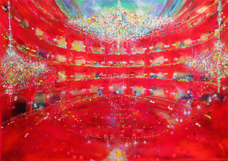 Fabio Bianco Theatre, 2019 Acrylic and gold leaf on canvas 150 x 200 cm 59 x 78.7 in