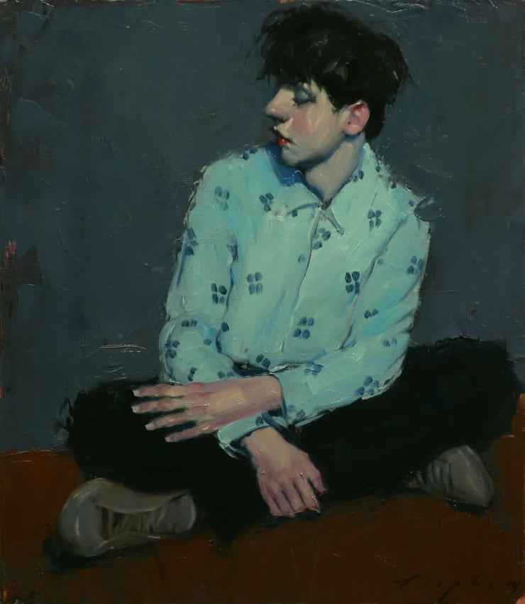 Malcolm Liepke Checkered Shirt, 2019 Oil on canvas 40.6 x 35.6 cm 16 x 14 in