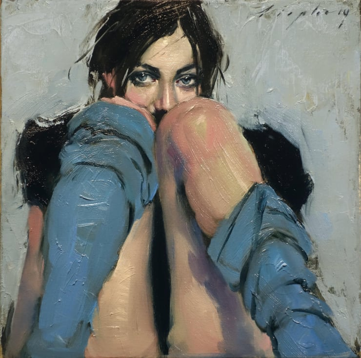 Malcolm Liepke Peek-a-Boo, 2018 Oil on canvas 25.4 x 25.4 cm 10 x 10 in
