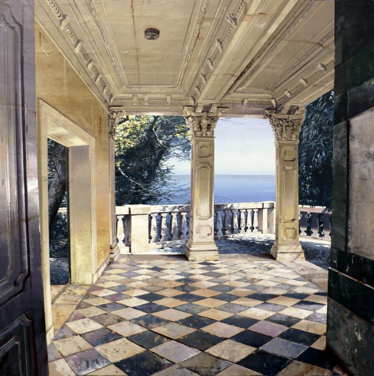 Matteo Massagrande Villa II, 2019 Oil and mixed media on board 50 x 50 cm 19.7 x 19.7 in
