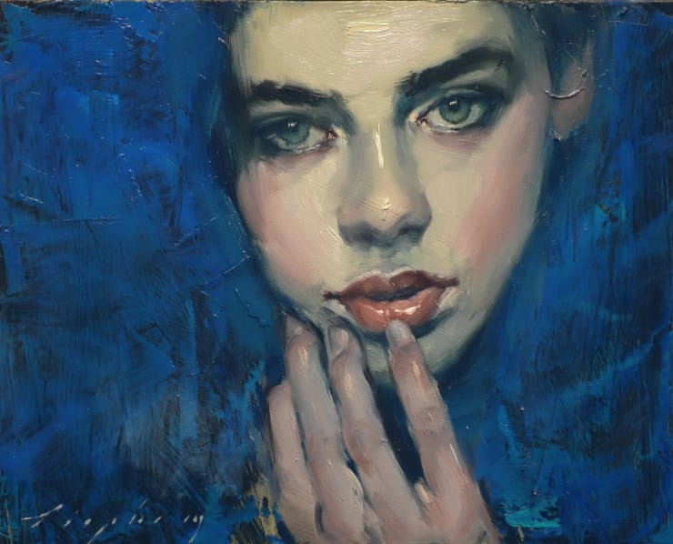 Malcolm Liepke Head in Blue, 2018 Oil on canvas 20.3 x 25.4 cm 8 x 10 in