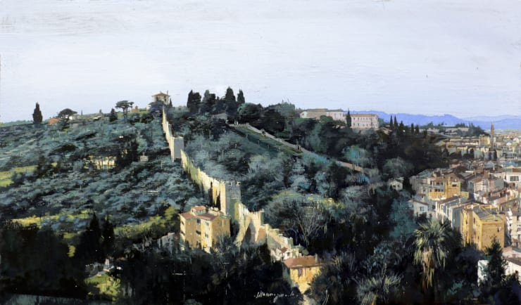 Matteo Massagrande Colline Toscane (Firenze), 2019 Oil and mixed media on linen on board 18 x 31 cm 7.1 x 12.3 in