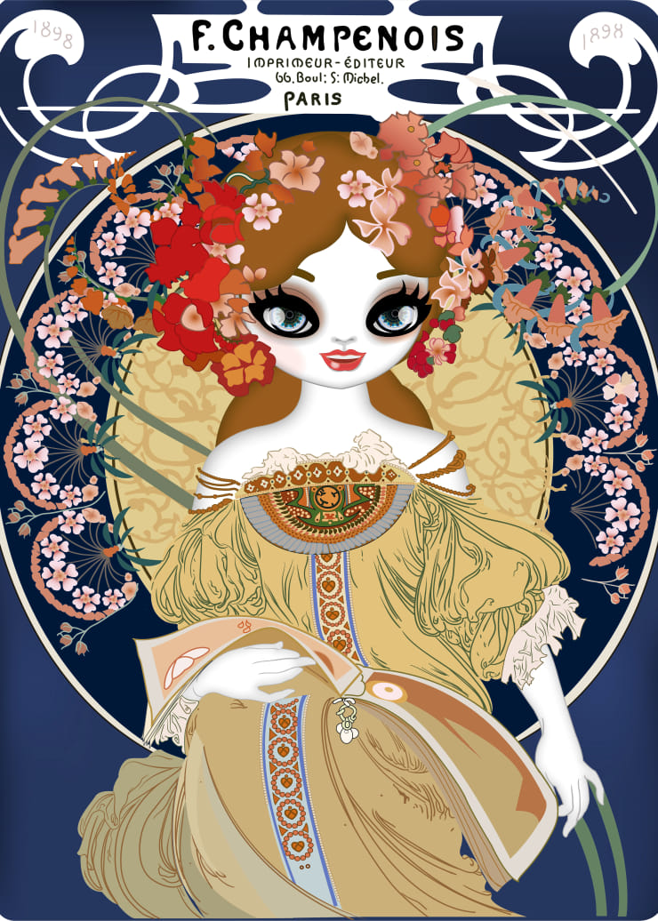 Mari Kim F. Champenois Imprimeur-Editeur (homage to Alphonse Mucha), 2018 Oil and acrylic on ultrachrome ink printed paper 130 x 93.5 cm 51.2 x 36.8 in