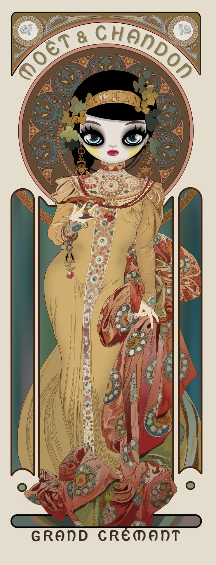 Mari Kim Moet & Chandon: Grand Cremant Imperial (homage to Alphonse Mucha, 2018 Acrylic on ultrachrome ink printed paper 160 x 61.2 cm 63 x 24.1 in