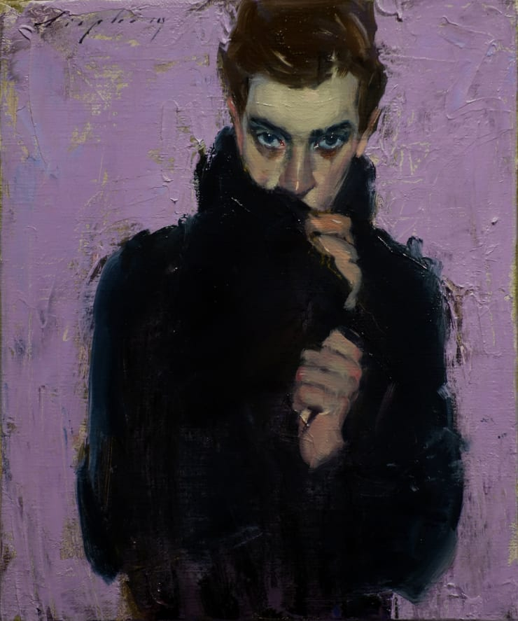 Malcolm Liepke Navy Coat, 2019 Oil on canvas 30.5 x 25.4 cm 12 x 10 in