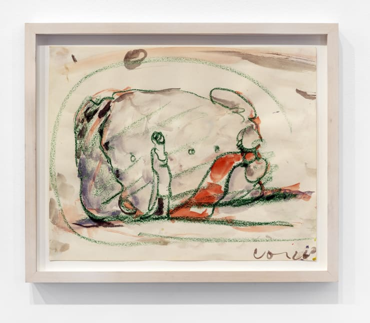 Claes Oldenburg Study for a Huge Stuffed Shirt with Tie, Woman Standing for Scale, 1962 watercolor & crayon on paper, framed nude molding Frame Dimensions: 13 1/4 x 16 x 1 .5 in. / 33.6 x 40.6 x 3.8 cm Image Dimensions: 10 3/4 x 13 1/2 in. / 27.3 x 34 cm
