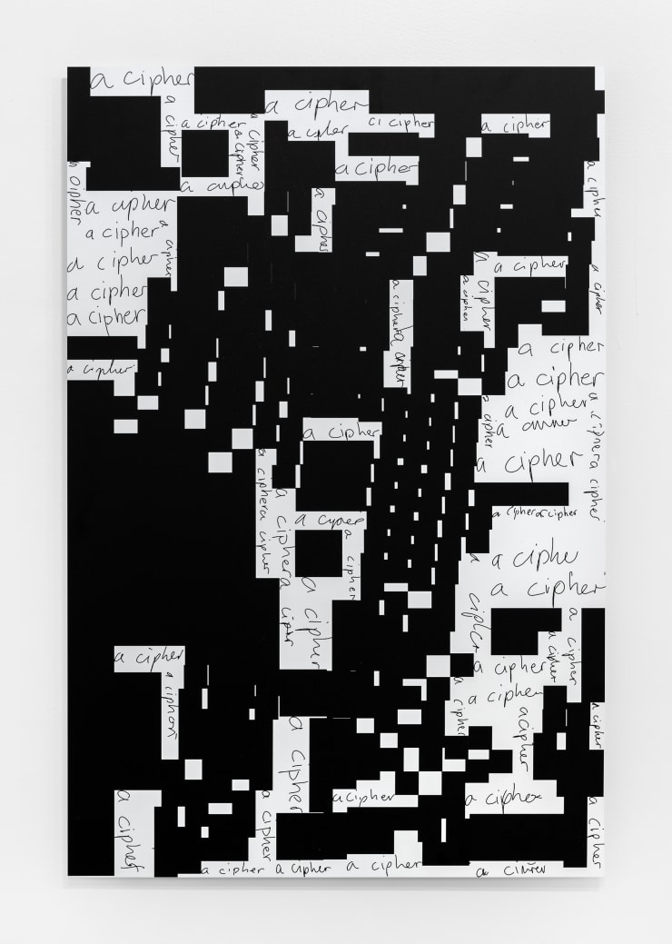 Damon Zucconi A Cipher, 2019 handwriting synthesis, 2d bin packing, UV curing ink on Alu-dibond 36 x 24 in. / 91.4 x 60.9 cm