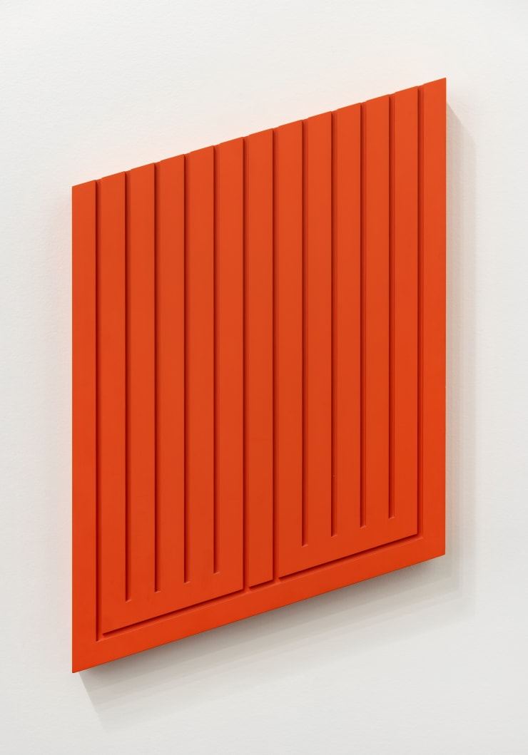 Donald Judd Untitled (16-R), 1976 cadmium red paint on sugar pine 25 x 16 x 2 in. / 63.5 x 40.6 x 5.1 cm