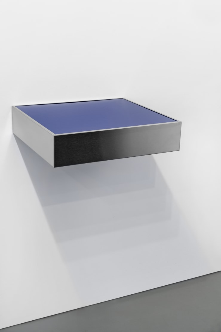 Donald Judd Untitled, 1976 Stainless steel, blue plexiglass 6 x 27 x 24 in. / 15.2 x 68.6 x 61 cm