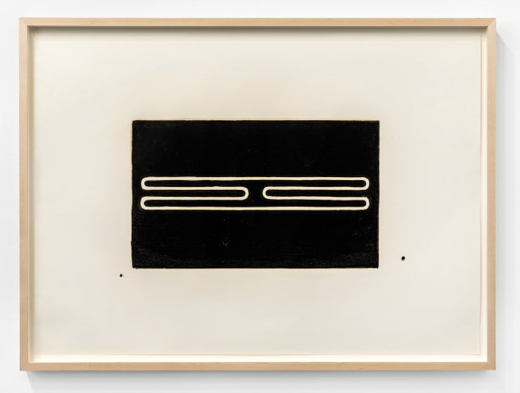 "Donald Judd Untitled (Print ""G""), 1961-1978 woodcut in ivory black on offset paper Paper Dimensions: 22 x 30 1/2 in. / 55.9 x 77.5 cm Frame Dimensions: 24 x 32 1/2 x 1 3/4 in. / 61 x 82.6 x 4.4 cm Edition of 25 plus several in black with red gouache"