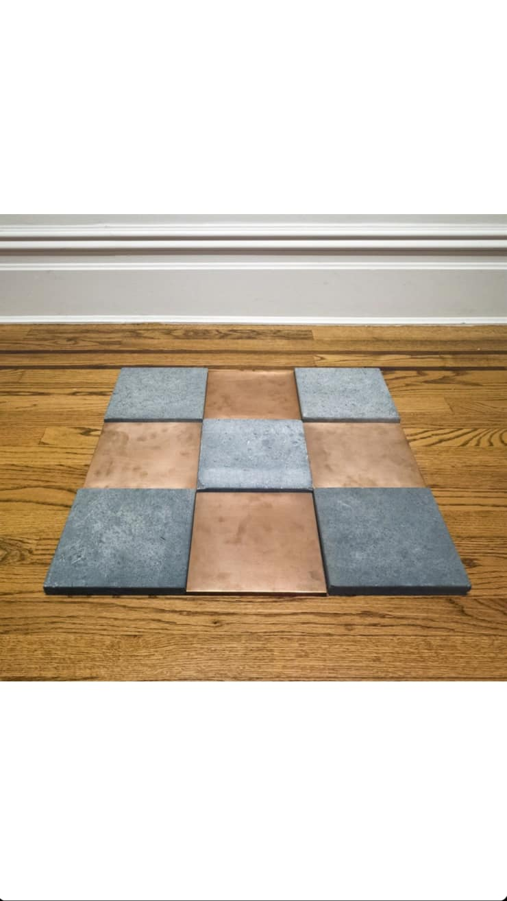 Carl Andre Copper Blue Odd Niner, 1990 Copper and Belgian blue limestone 23 5/8 x 23 5/8 x ¾ in. (60 x 60 x 2 cm.)