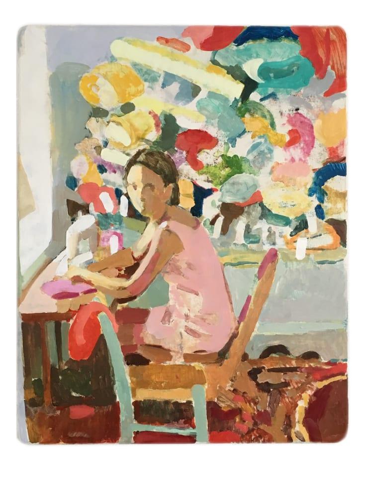 Tim Braden, Girl sewing fabric, 2015