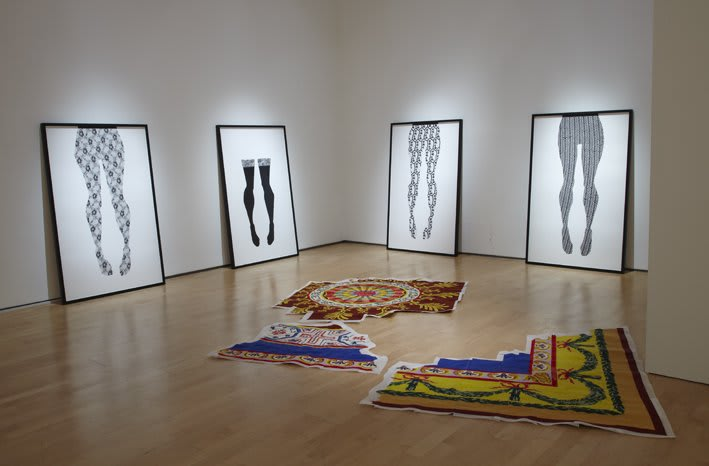 """Catherine Bertola, Installation View of From the palace at Hillstreet and Blue Stockings. """"Beyond Pattern"""" Oriel Davies Gallery, Newtown, Wales"""