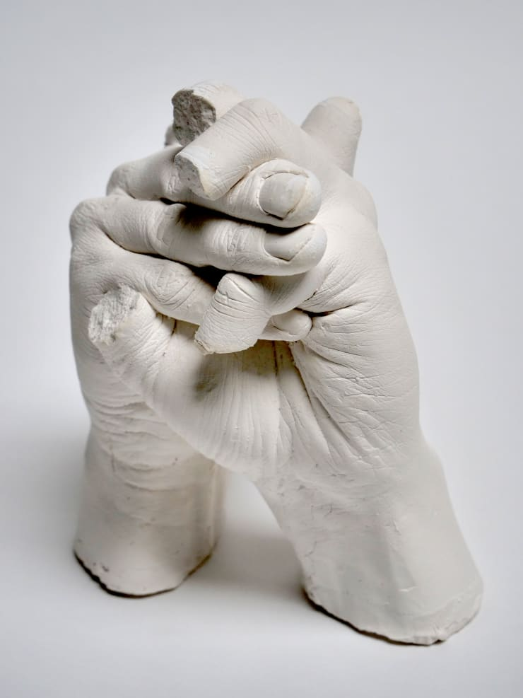 Marcus Coates Extinct Animals (Atlas Bear), 2018 Plaster of Paris, cast from the artist's hands whilst performing the extinct animal's shadow 17 x 14 x 13 cm 6 3/4 x 5 1/2 x 5 1/8 in
