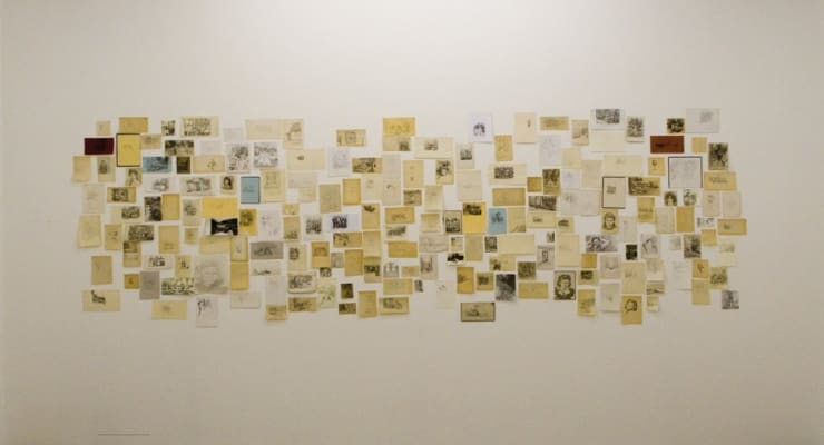 Laura Lancaster Untitled, 2007 Drawing Installation Graphite, Charcoal, Gouache, and Felt Tip on Second Hand Book Pages 130 x 410 cm 51 1/8 x 161 3/8 in