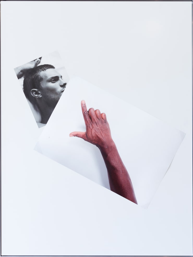 Simeon Barclay, An Arrangement on white in perspective (cock on mate), 2015