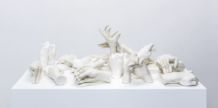 Marcus Coates Extinct Animals, 2018 Plaster of Paris, cast from the artist's hands whilst performing the extinct animal's shadow 110 x 110 x 60 cm (including plinth) 43 1/4 x 43 1/4 x 23 5/8 in