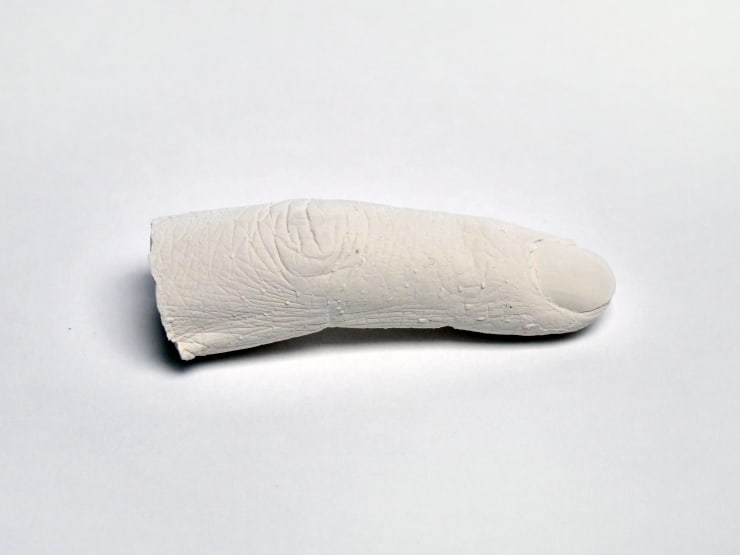 Marcus Coates Extinct Animals (Lake Pedder Earthworm), 2018 Plaster of Paris, cast from the artist's hands whilst performing the extinct animal's shadow 8 x 2 x 2 cm 3 1/8 x 3/4 x 3/4 in