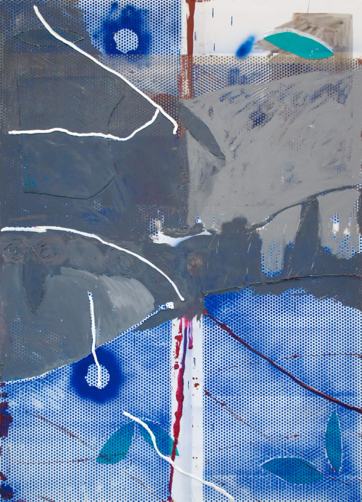 Mike Pratt, Blue dots with grey paint on top, 2012