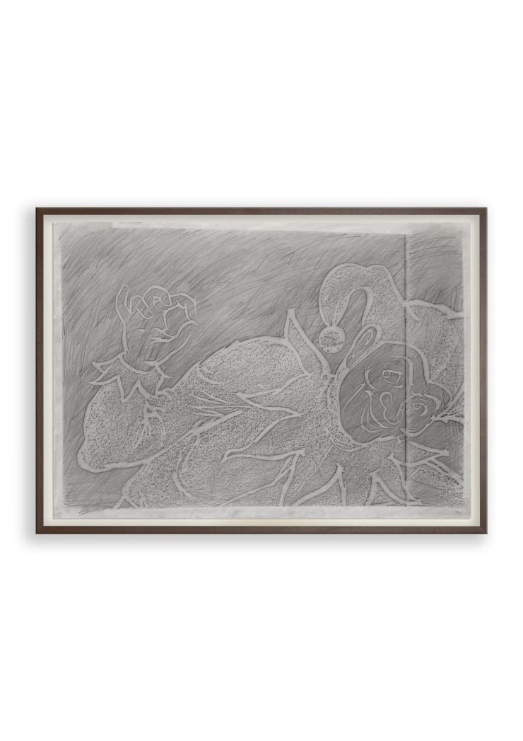 Hannah Quinlan & Rosie Hastings Jester #8, 2020 Wall rubbing, graphite on paper 59.4 × 84.1 cm 23 3/8 × 33 1/8 in