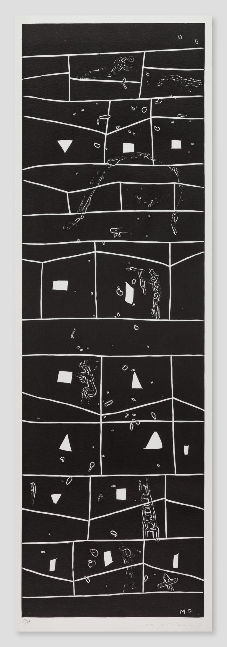 Mimmo Paladino, Atlantico V (Rectangular Grid with Figures), 1987