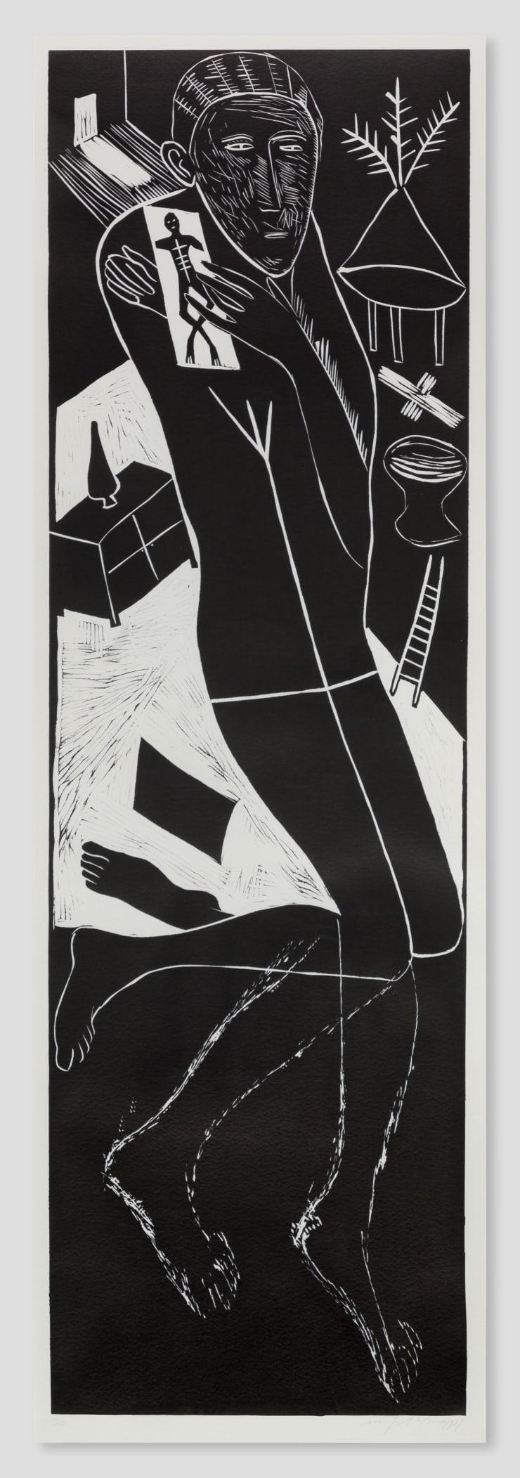 Mimmo Paladino, Atlantico II ( Figure Kneeling with Ladder & Chest of Drawers), 1987