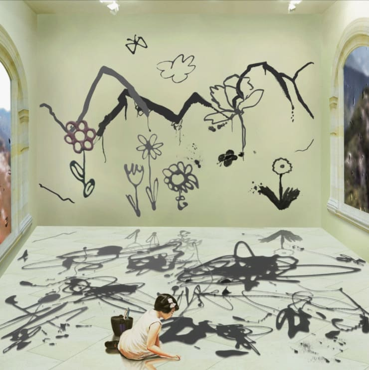 Bae Joonsung The Costume of Painter - Doodling on the wall S, little girl, a square, 2012 Lenticular Photograph 80 x 80 cm 31 x 31 in edition 1 of 7