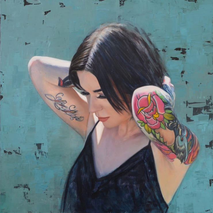 Philip Muñoz Girl with Flower Tattoos, 2019 Oil on linen 60 x 60 cm 23.6 x 23.6 in