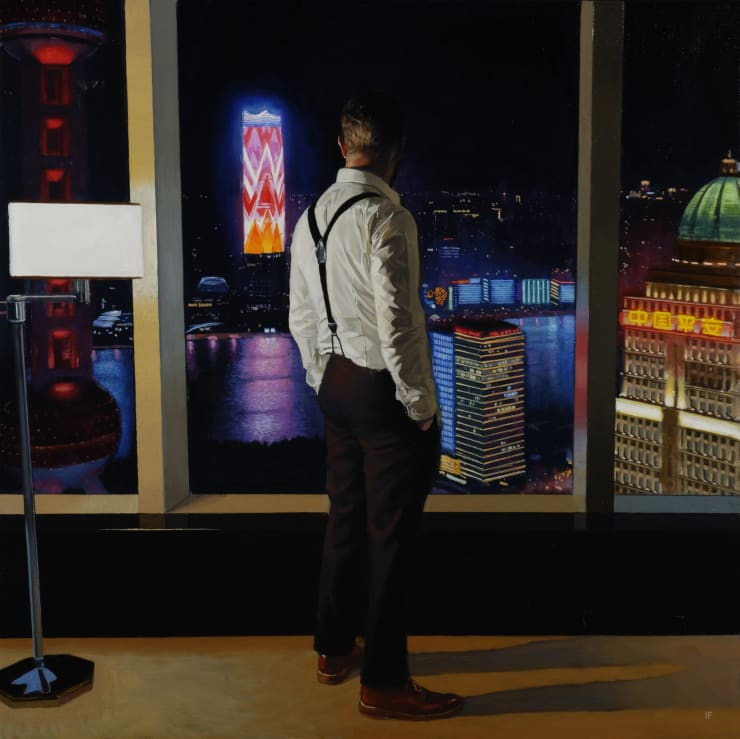 Iain Faulkner Pudong Evening, 2018 Oil on canvas 72 x 72 cm 30 x 30 in