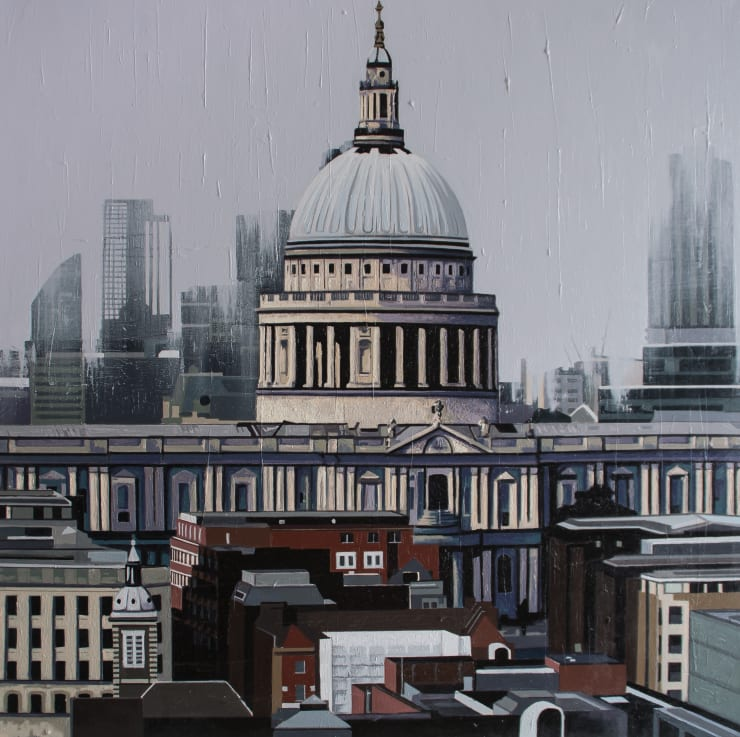 Neil Douglas View of St. Paul's Cathedral 2, 2019 Oil on canvas 96 x 96 cm 38 x 38 in