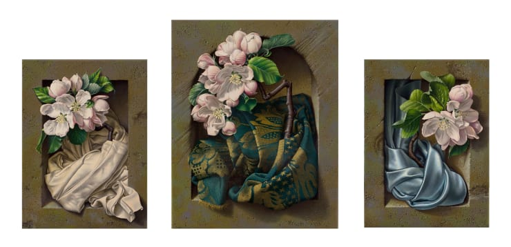 Miriam Escofet Blossom Triptych, 2007 Oil on linen central panel - 25.5 x 20.5 cm left & right panels - 20.5 x 15.5 cm