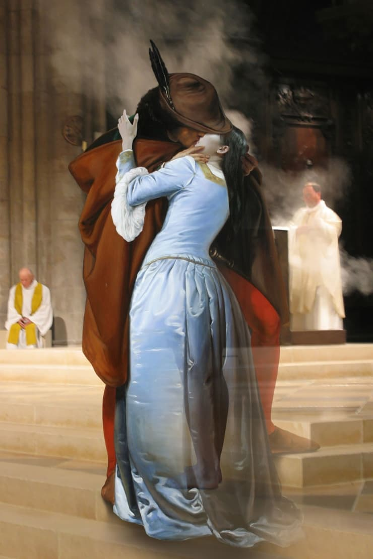 Bae Joonsung The Costume of Painter - F. Hayez Kiss 3D, 2015 Lenticular Photograph 90 x 60 cm 35.5 x 23.5 in edition 1 of 13
