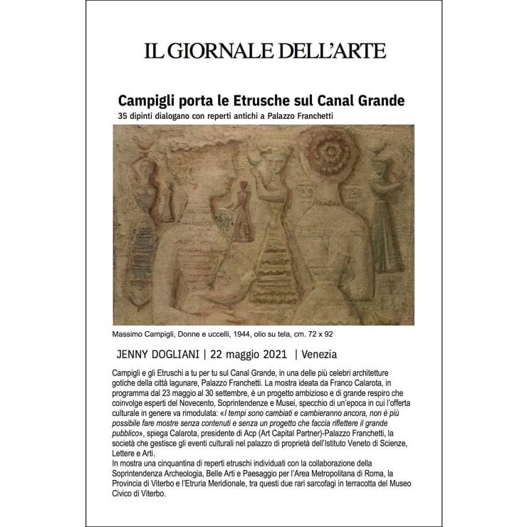 Campigli porta le Etrusche sul Canal Grande