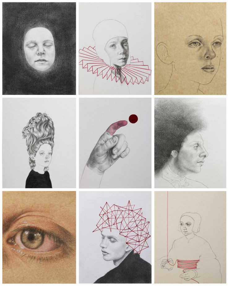 Postcards to myself, Pencil, charcoal and mixed media on Fabriano paper or similar, 100 x 125 mm sold individually or in multiples