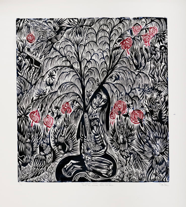 John Abell, The Woman Feeds The Willow, Feeds the Flowers, Feeds the Birds, 2019, Linocut, 124 x 116 cm