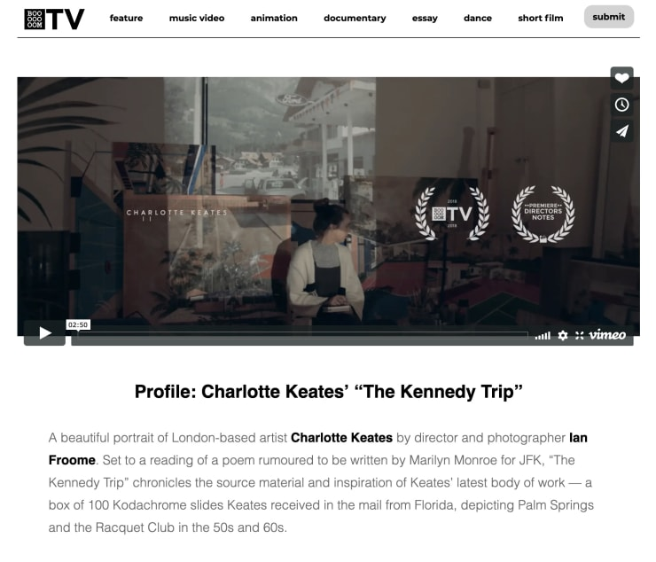 "Profile: Charlotte Keates' ""The Kennedy Trip"""