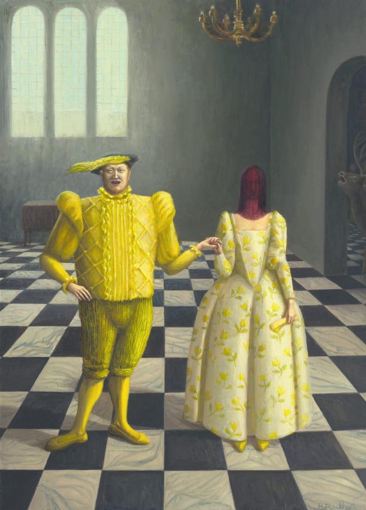 Helen Flockhart, Divorce Ball, 2018, oil on board, 36 x 26 cm