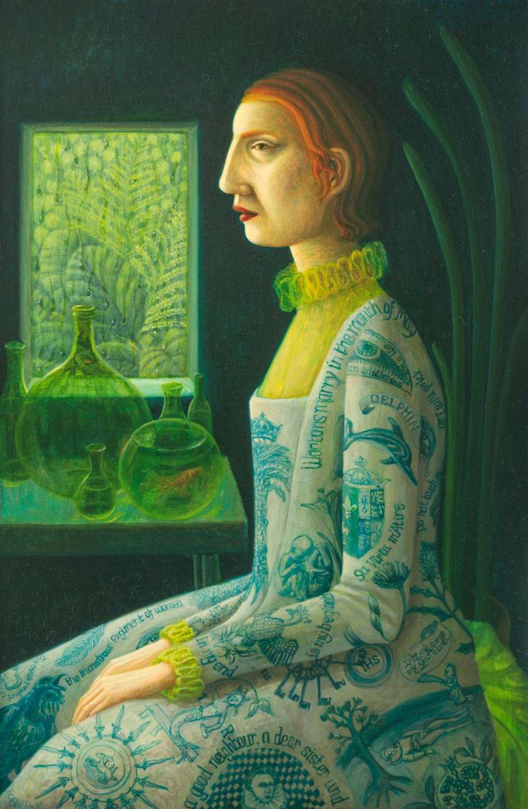 Helen Flockhart, Lachrymose Window, 2018, oil on board, 40 x 26 cm