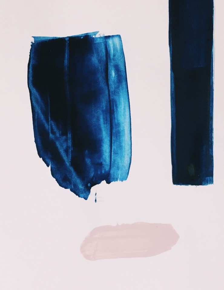 Untitled study in blue 2016 Gouache & ink on paper 30 x 21