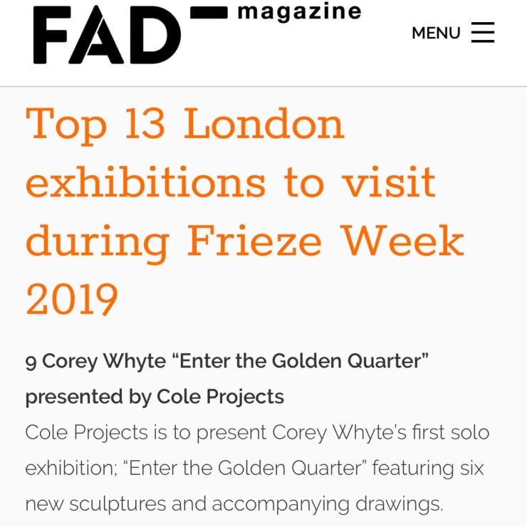 Top 13 London exhibitions to visit during Frieze Week 2019