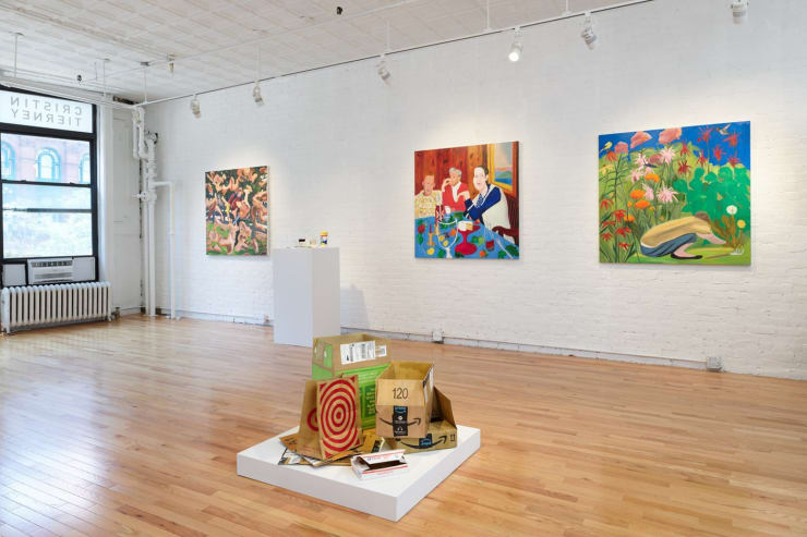 Installation view of Joan Linder and Maureen O'Leary: Slightly Surreal Suburbia (Cristin Tierney Gallery, New York, June 18 - August 6, 2021). Photograph by Elisabeth Bernstein.