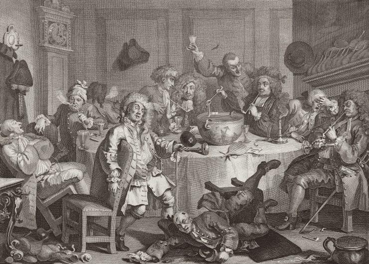William Hogarth A Midnight Modern Conversation, 1732