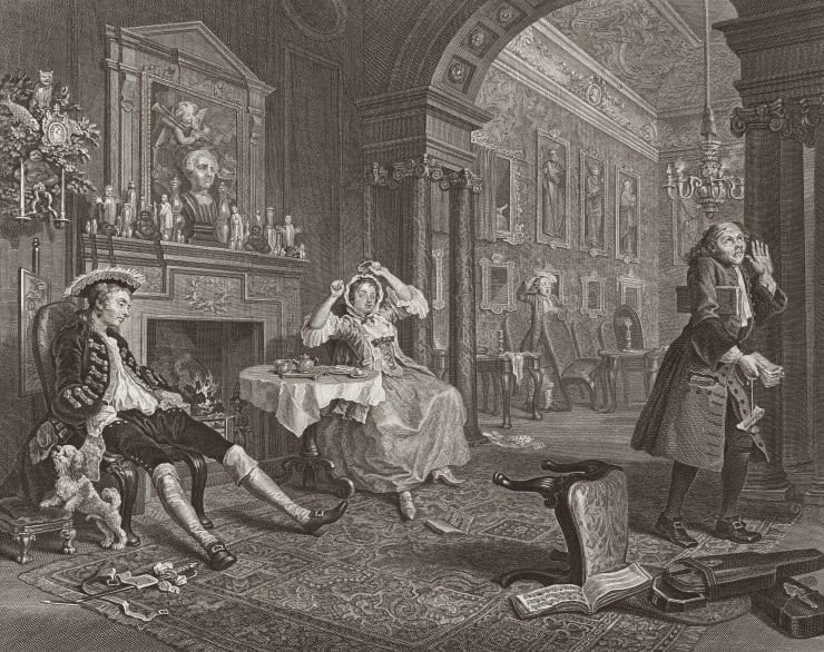 William Hogarth Marriage A-la-Mode, Plate 2, 1745
