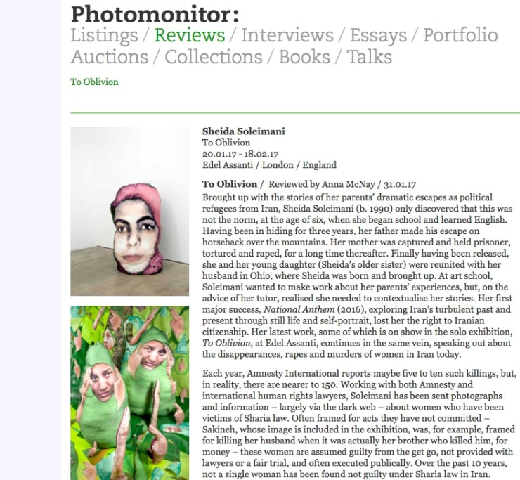 Sheida Soleimani review in Photomonitor