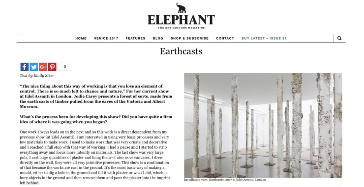 Jodie Carey interview in Elephant