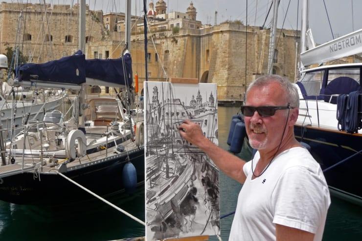 2011 04 22 26 Gerard Byrne Plein Air Painting Grand Harbour Vittoriosa Malta Photo Credit Agata Byrne 1