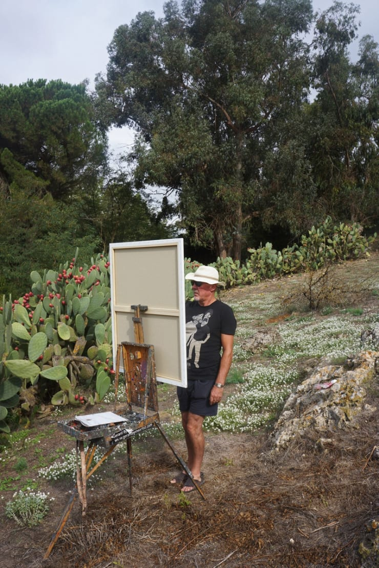 2013 10 13 Gerard Byrne Plein Air Painting Agriturismo Bannata Enna Sicily Photo Credit Agata Byrne 2