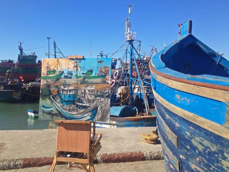 2014 01 24 Gerard Byrne Plein Air Painting Harbour Essaouira Morocco Photo Credit Agata Byrne