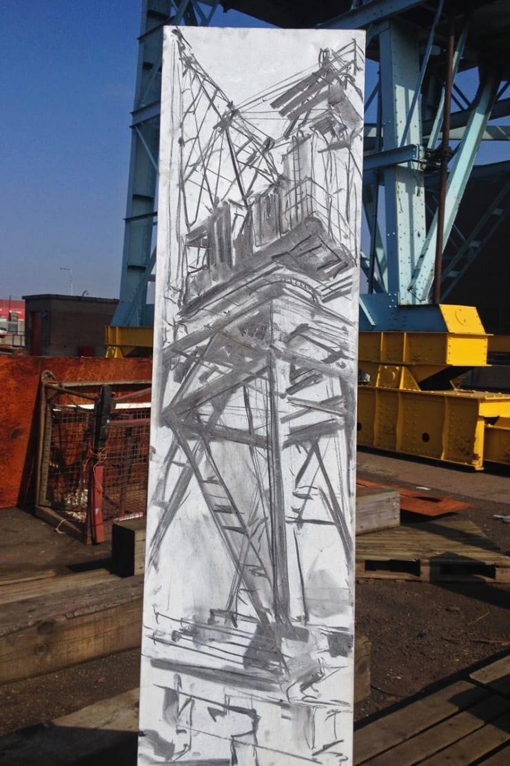 2014 04 11 Gerard Byrne Plein Air Charcoal Sketch Up Lifting Dublin Docklands Ireland Photo Credit Gerard Byrne
